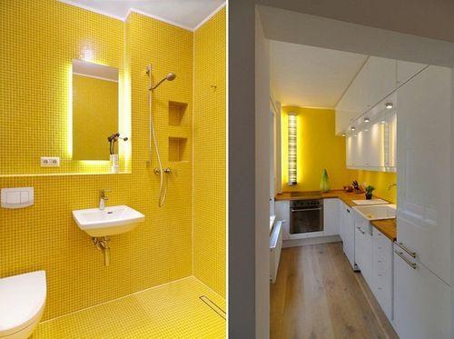 Желтый и белый цвет в интерьере квартиры