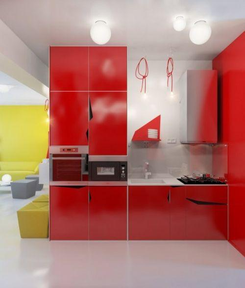 Красный и желтый цвет в интерьере квартиры