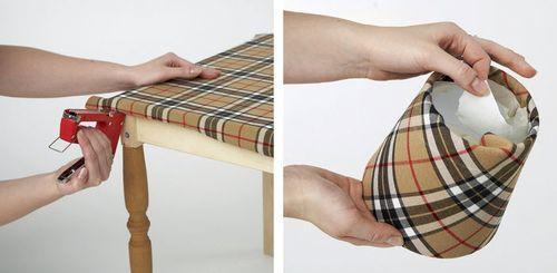 Обивка столика тканью