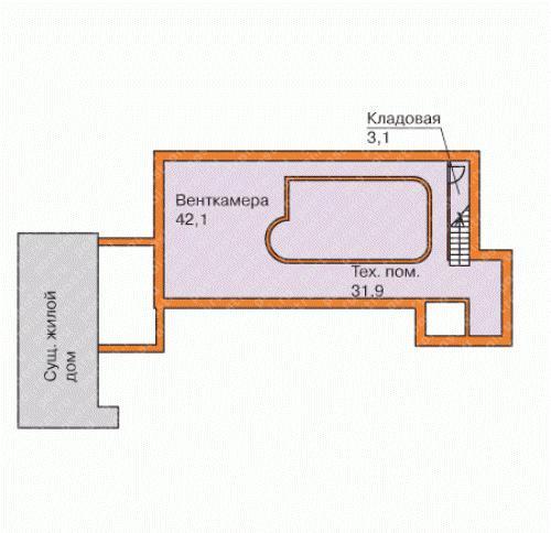 Проект сауны с бассейном. Технический этаж