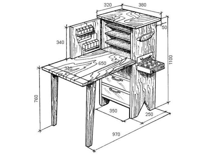 Верстак своими руками - стол с шухлядами