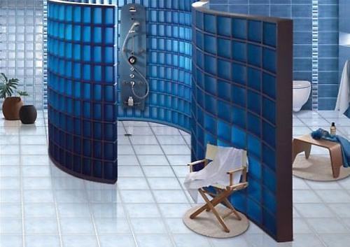 Душевая кабина из стеклоблоков: всё гениальное просто