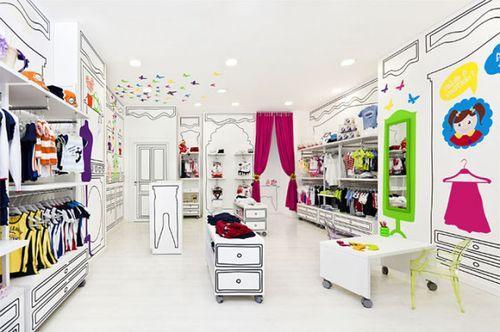 Нарисованный бутик детской одежды