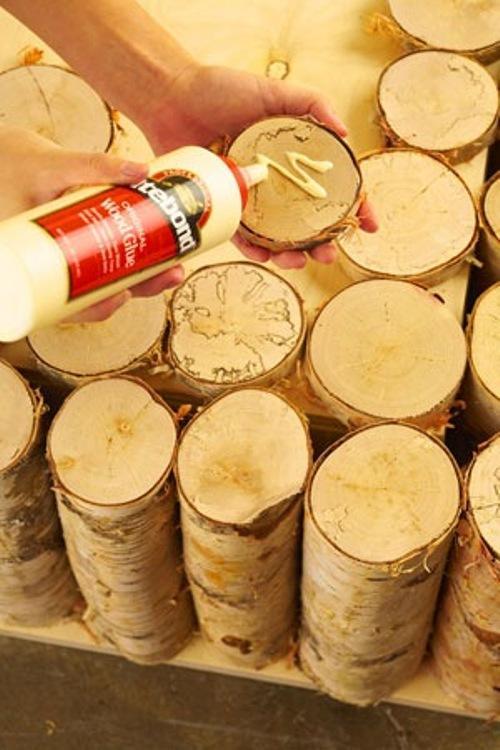 Приклеивание тонко нарезанных деревянных брусков