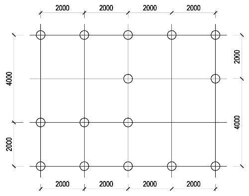 Схема расположения винтовых свай