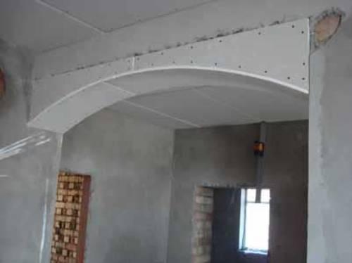 Устройство дверной арки из гипсокартона