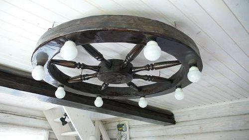 Люстра-колесо. Крепление к потолку
