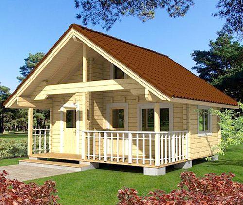 Деревянный садовый домик с террасой