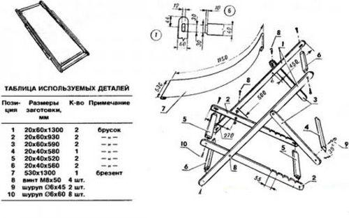 Подробные схемы и чертежи складных кресел.