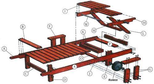 Чертеж для изготовления деревянного шезлонга