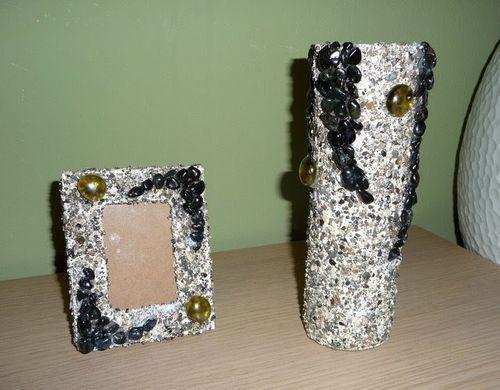 Декор рамки и вазы камнями