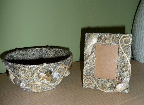 Декор тарелки и рамки ракушками