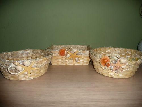 Декор деревянных тарелок ракушками