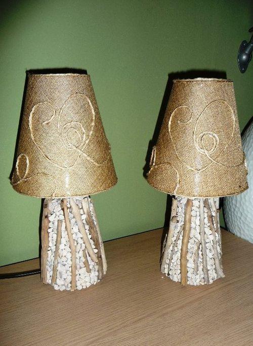 Декор светильников камнями и ветвями