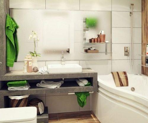 Идея дизайна интерьера маленькой ванной комнаты
