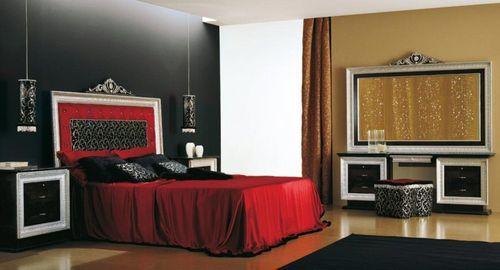 Черный и красный цвет в интерьере роскошной спальни