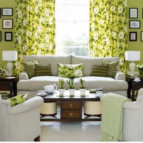 Весенний интерьер гостиной комнаты