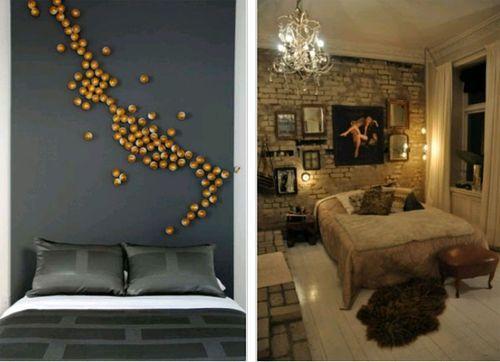 Оформление стен в спальне. Пример. Фото