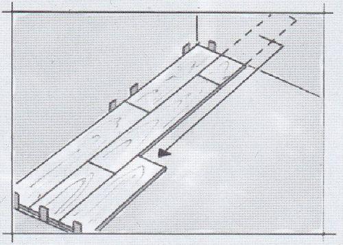 Отрезанный кусок панели переносим на следующий ряд