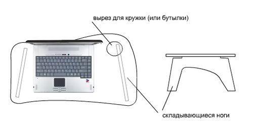 Удобный столик для ноутбука. Эскиз 3