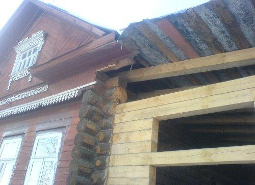 Крыша на пристройке из бруса