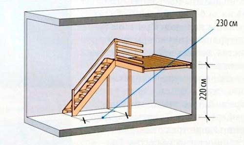 Лестница на антресоль с утиным шагом
