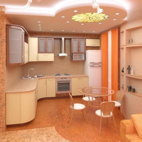 Потолок из гипсокартона в кухне