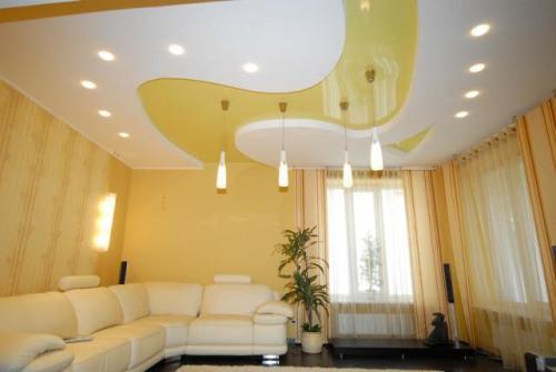Необычная форма потолка из гипсокартона