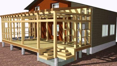 Строительство стен террасы