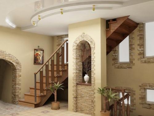 Интерьер холла с лестницей. Фото 5