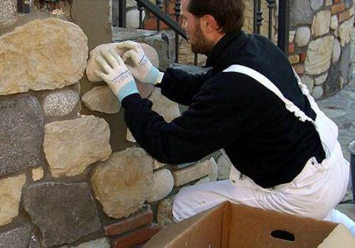 Монтаж искусственного камня