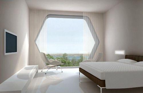 Интерьер спальни в стиле hi-tech
