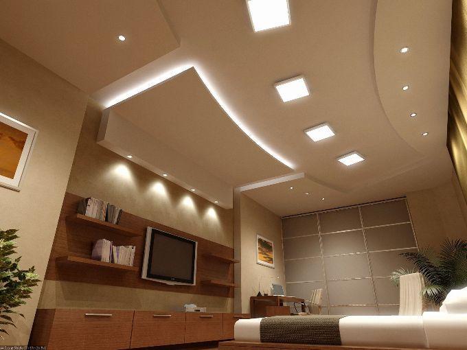 Красивый потолок из гипсокартона с подсветкой