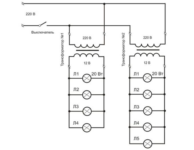 Схема подключения галогенных ламп к двум трансформаторам