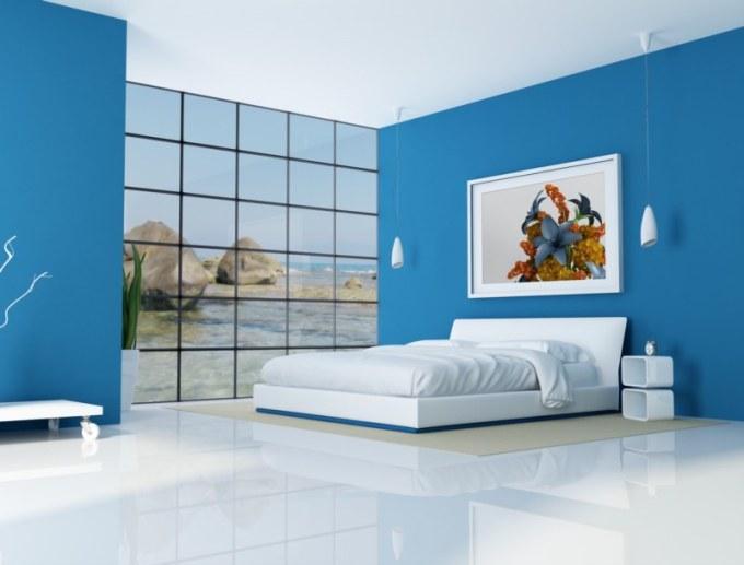 Синий цвет в спальне фото