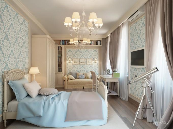 Интерьер нежно голубой спальни