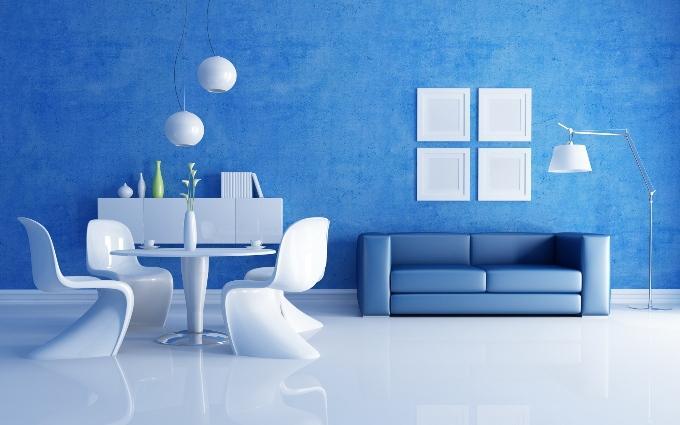 Синий цвет в интерьере кухни, гостинной, спальни