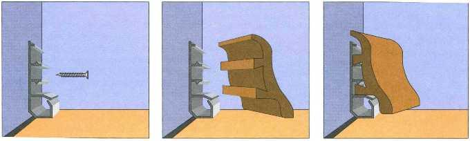 Крепление плинтуса на скобы