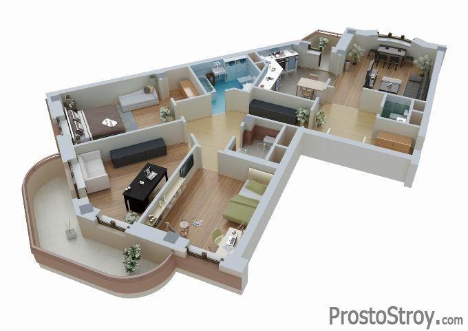 Объемная планировка квартиры