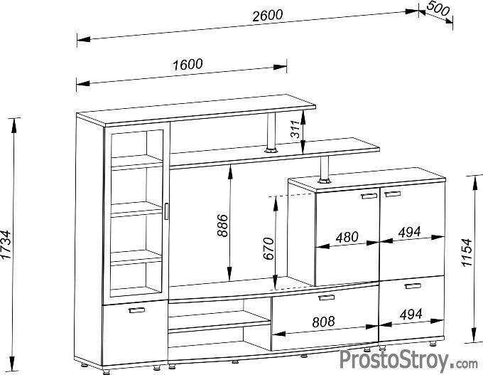 Размер стенки под телевизор