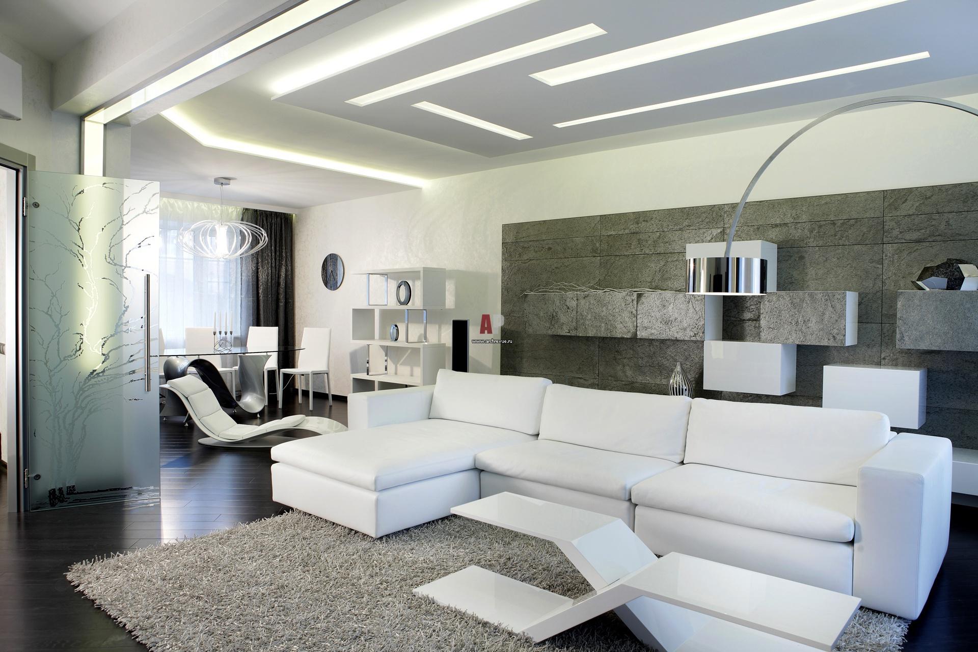 Минималистичная черно-белая гостиная в дизайне интерьера